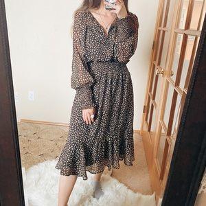 VICI Brown Printed Cinched Waist Midi Dress